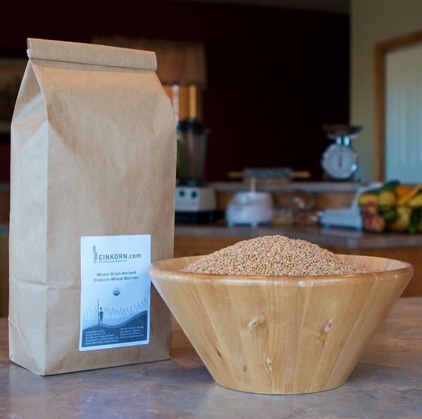 Organic Einkorn Berries in Paper Bag