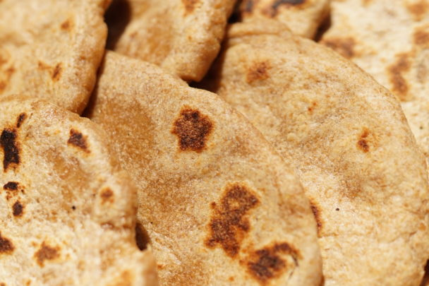 soaked einkorn flatbread close up