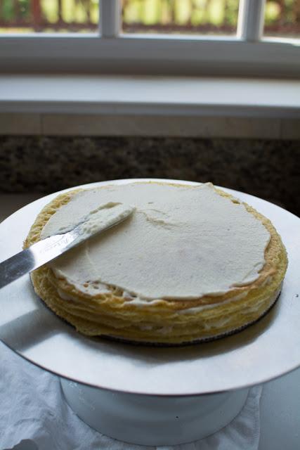 making einkorn crepe cake 2