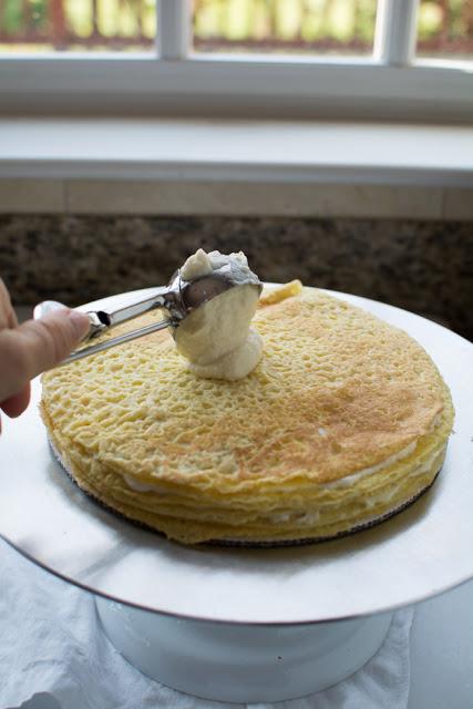 making einkorn crepe cake