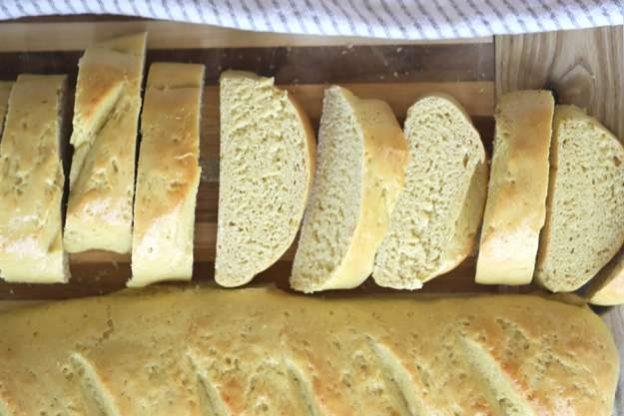 sliced einkorn french bread